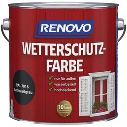 RENOVO Wetterschutzfarbe, für außen, 4 l, anthrazitgrau, seidenglänzend