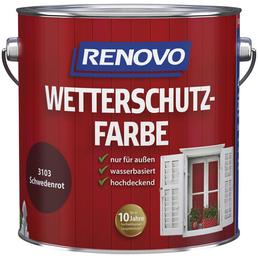 RENOVO Wetterschutzfarbe, für außen, 4 l, schwedischrot, seidenglänzend