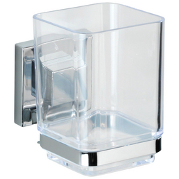 WENKO Zahnputzbecher »Vacuum-loc Quadro«, rostfreier Edelstahl, silberfarben/transparent, eckig