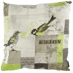MADISON Zierkissen »Enjoy Lime«, Tiere, beige/grau/grün, 50 cm x 50 cm